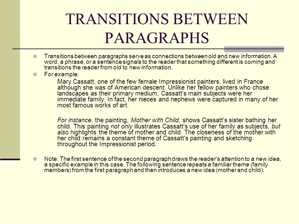 Transitional phrases for essays between paragraphs