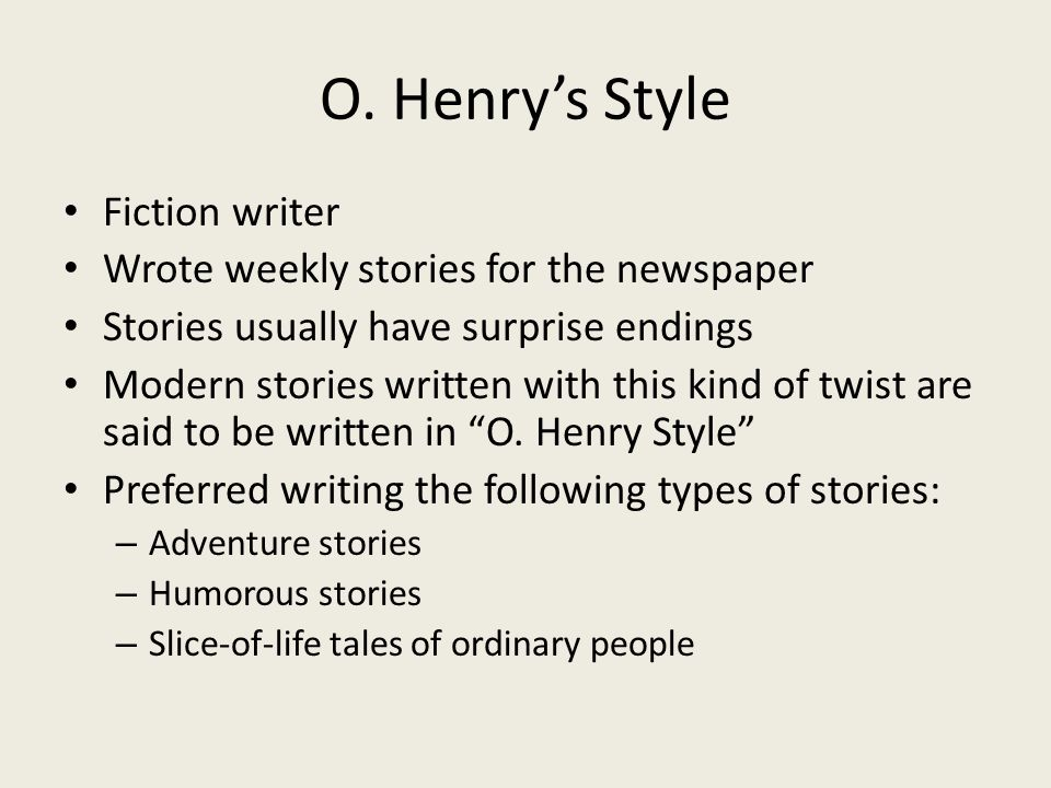 a newspaper story by o henry summary