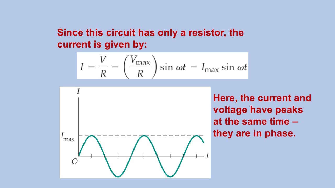 Electrical Circuit Concepts Ppt Video Online Download Ac Ammeter Wiring Method Basiccircuit Diagram Since This Has Only A Resistor The Current Is Given By