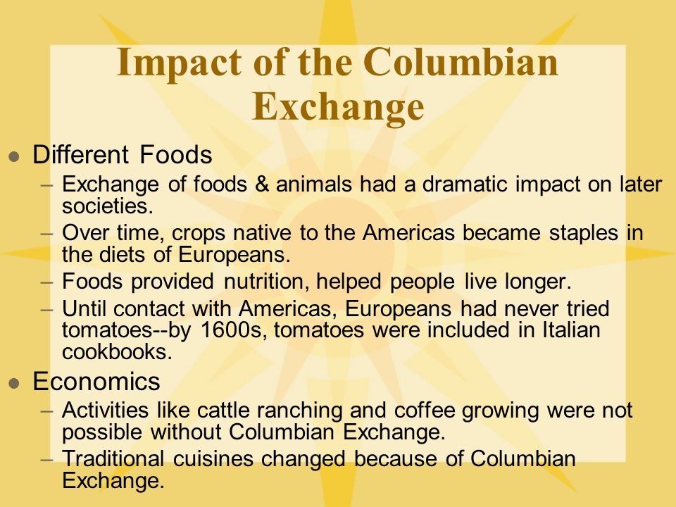 consequences of the columbian exchange