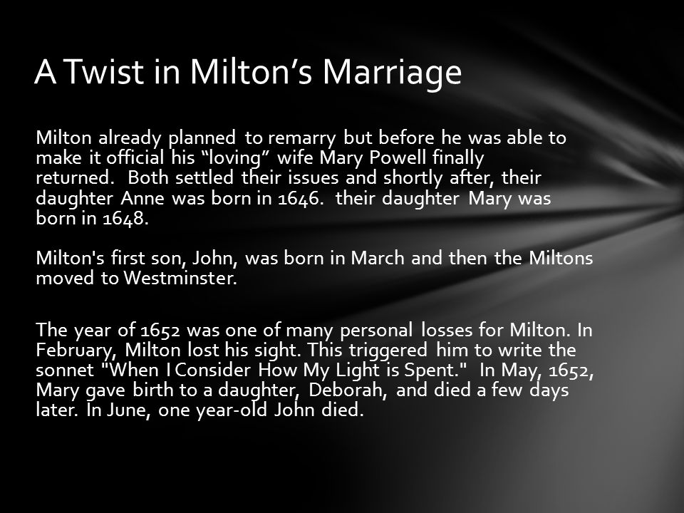 john milton on his deceased wife