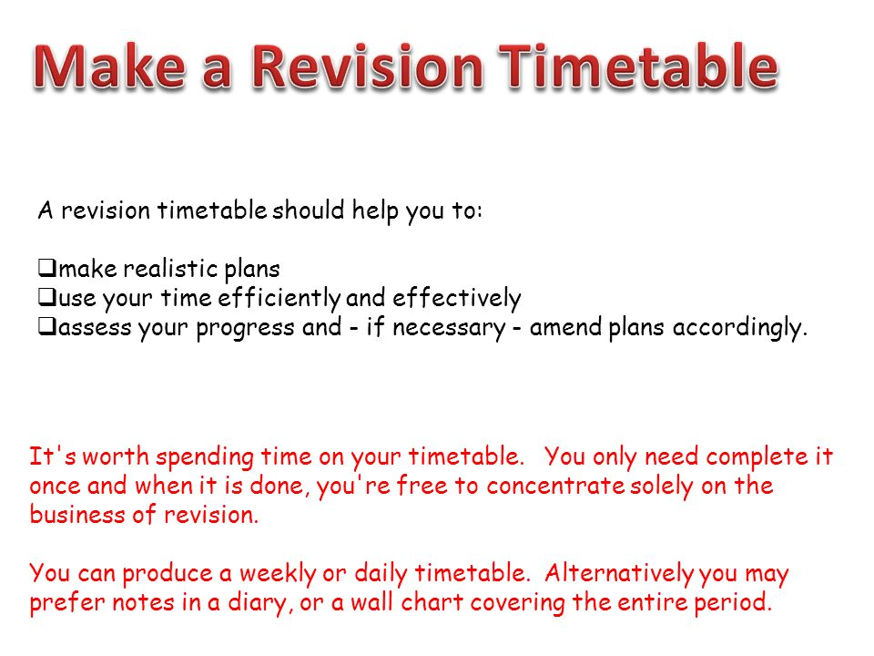 Creating A Revision Timetable Ppt Download