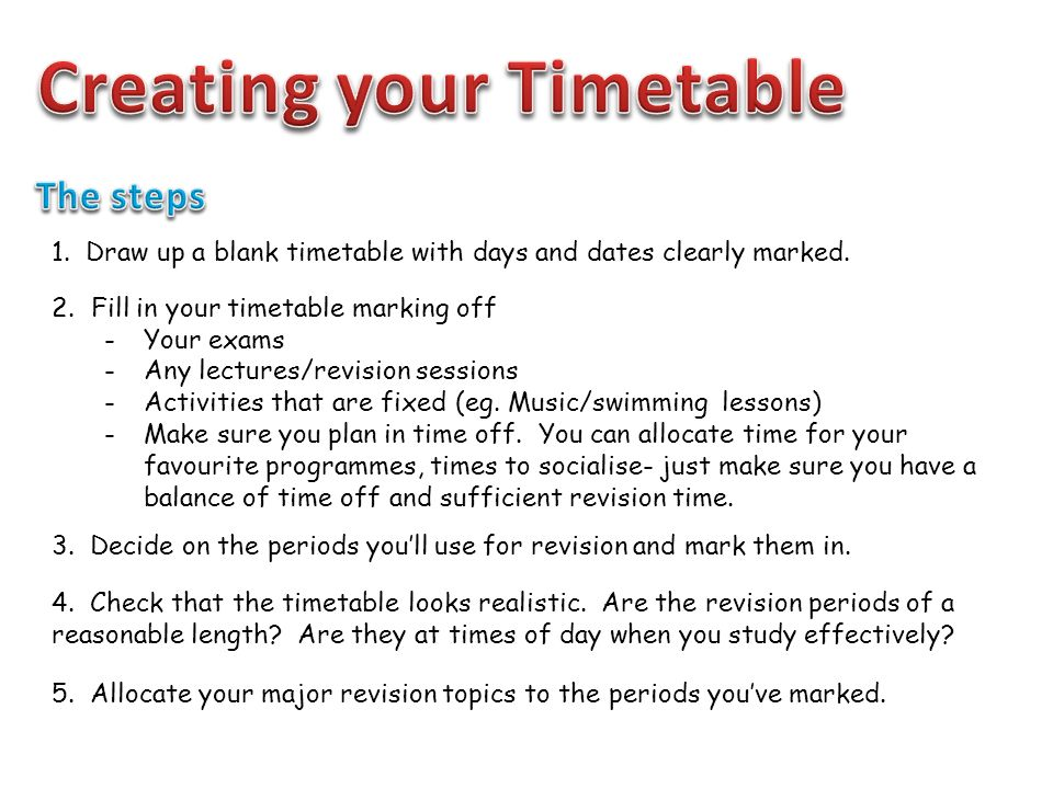 Pleasant Creating A Revision Timetable Ppt Download Complete Home Design Collection Epsylindsey Bellcom