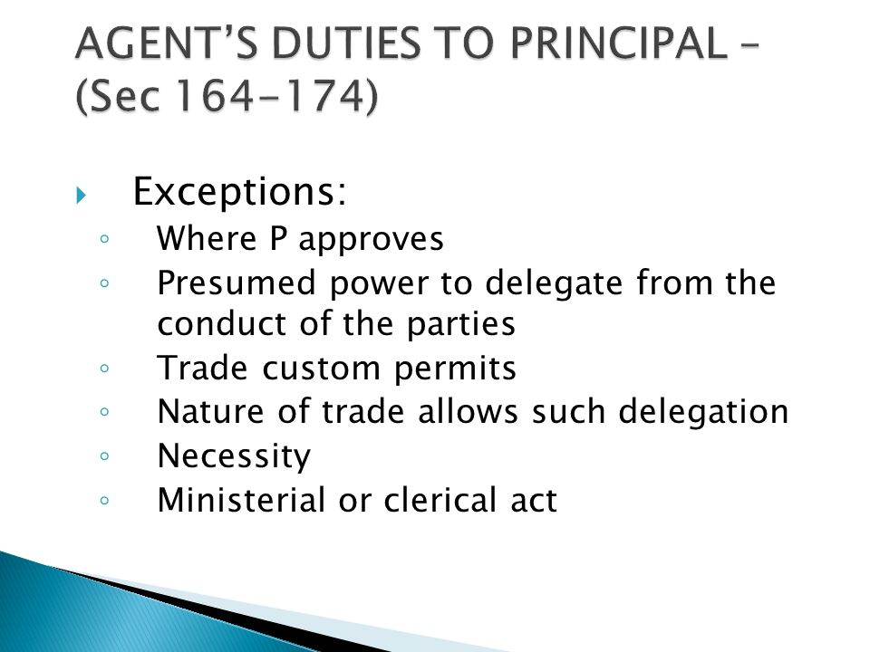 exceptions of delegatus non potest delegare under law of agency
