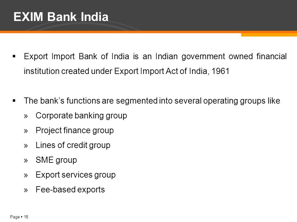exim bank functions