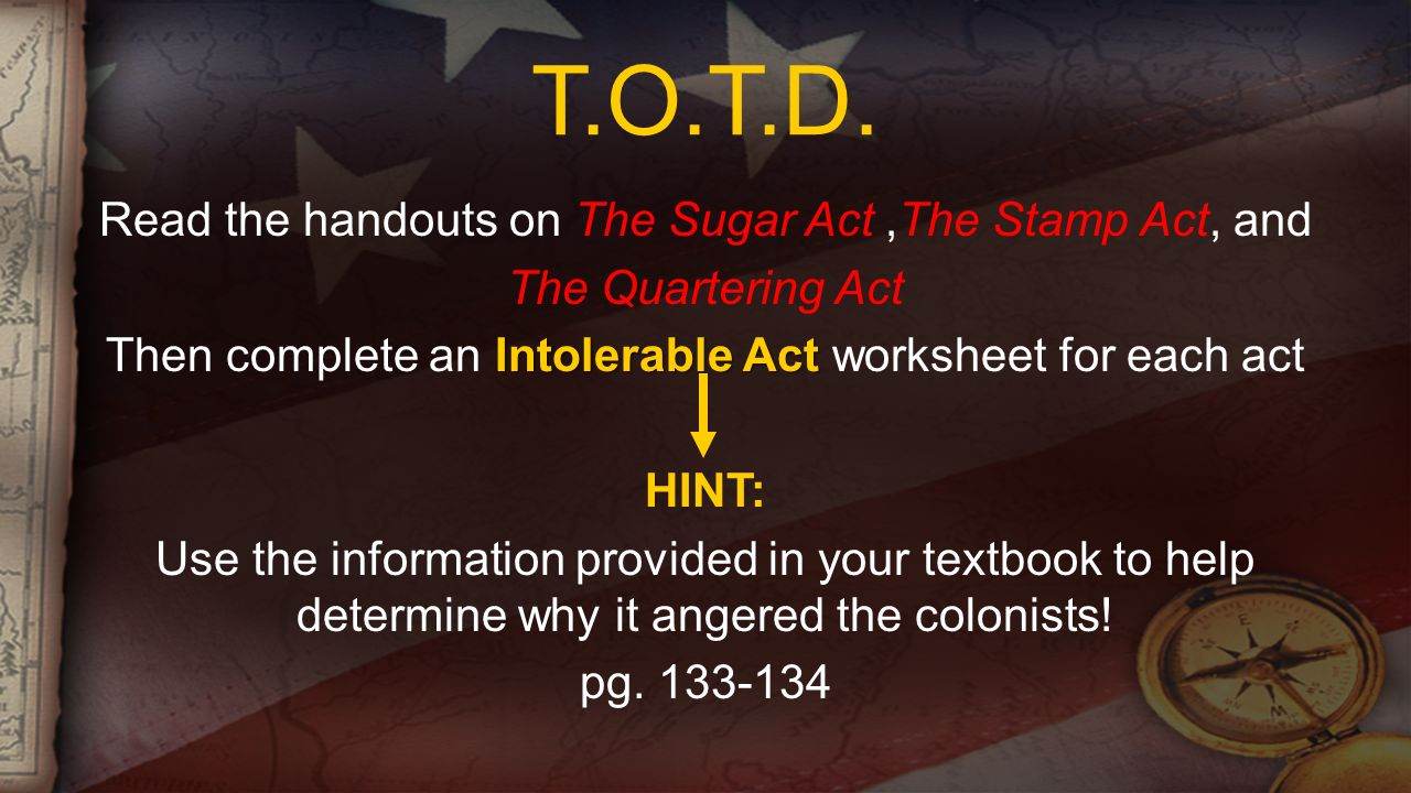 TOTD Read The Handouts On Sugar Act Stamp And