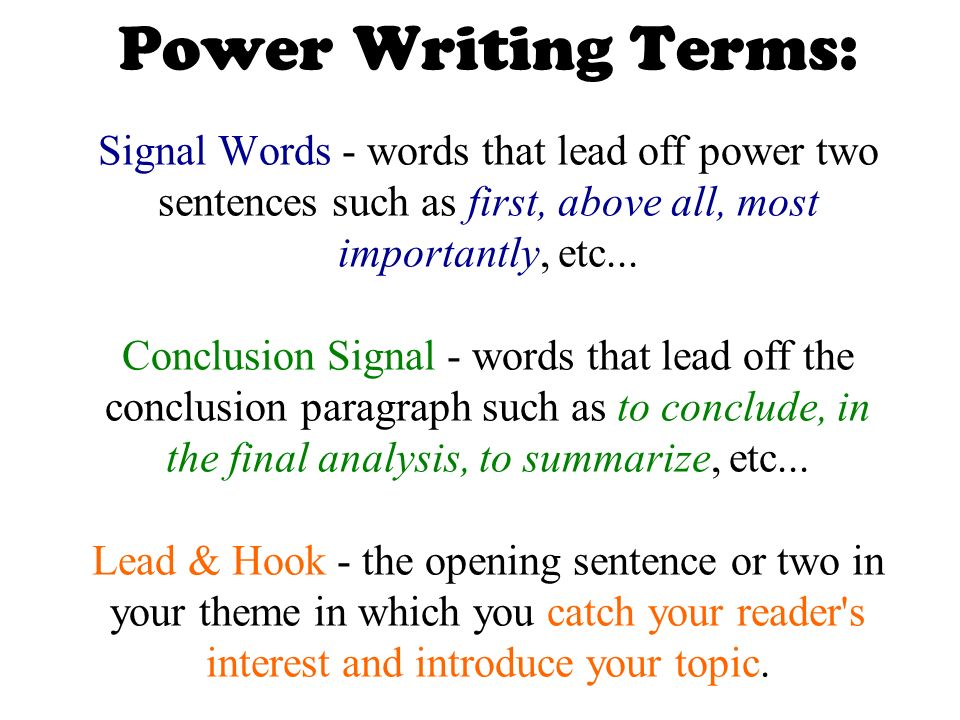 signal words in sentences