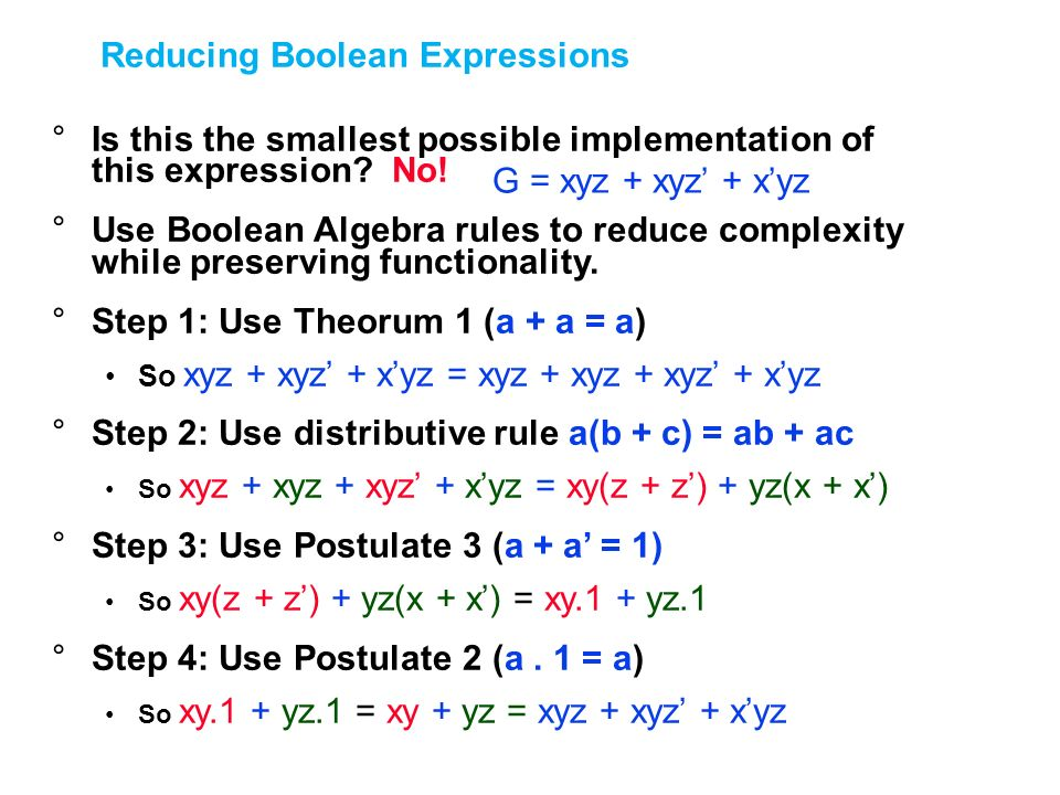 Reducing Boolean Expressions