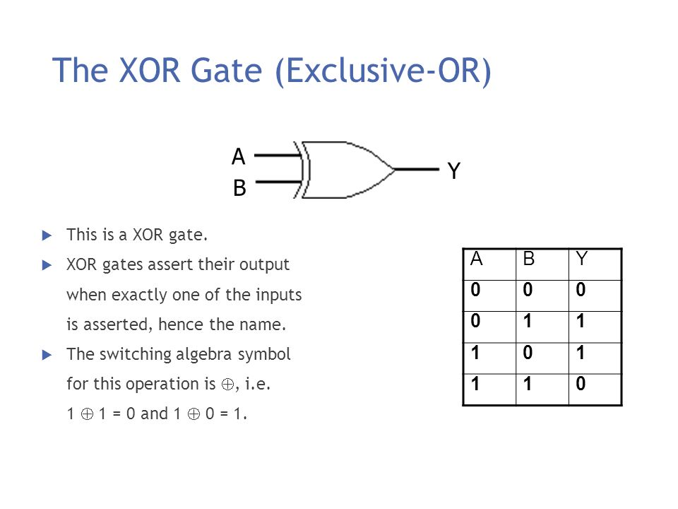 The XOR Gate (Exclusive-OR)
