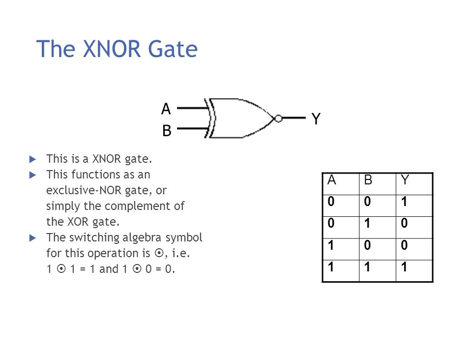 The XNOR Gate A Y B A B Y 1 This is a XNOR gate. This functions as an