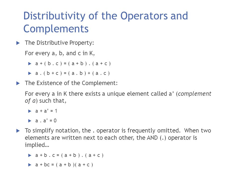 Distributivity of the Operators and Complements