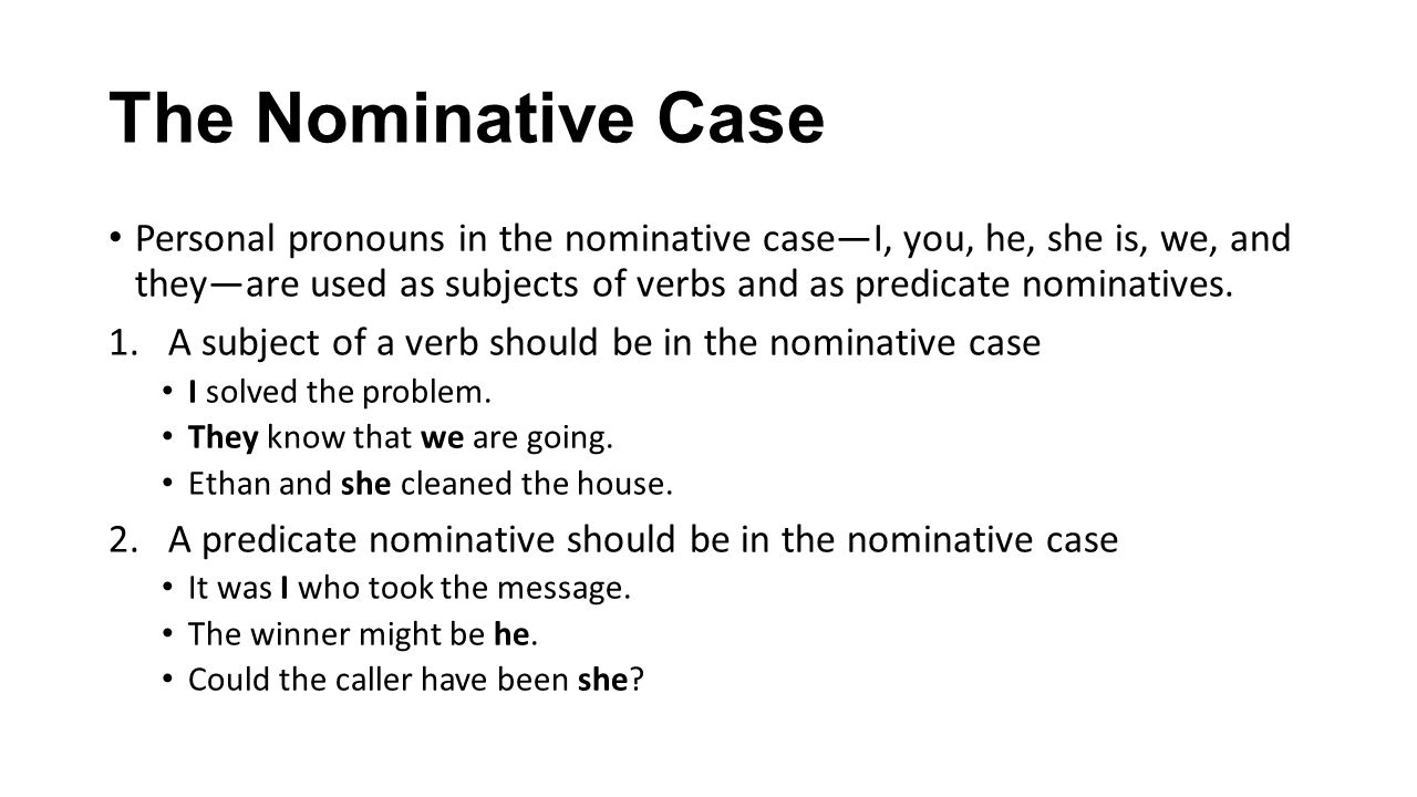 Nominative versus objective case pronouns youtube.