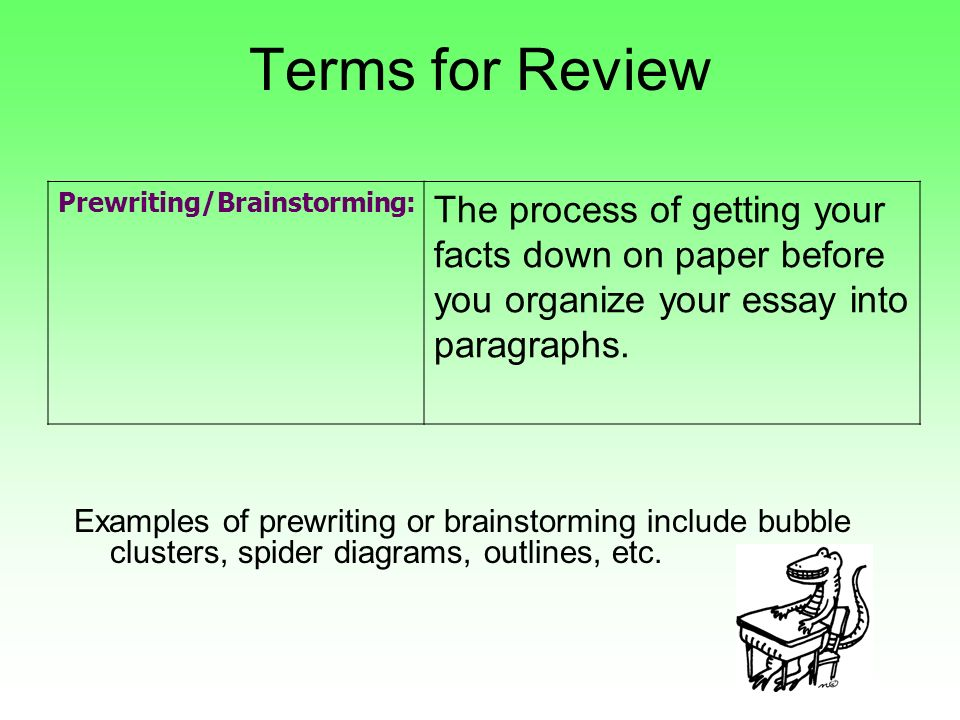 essay on brainstorming This week, we'll focus our brainstorming on uncovering essay topics for the narrative essay narrative essays tell a story in english classes, most instructors ask students to tell a story about themselves, such as an event from the past or a story about their family.