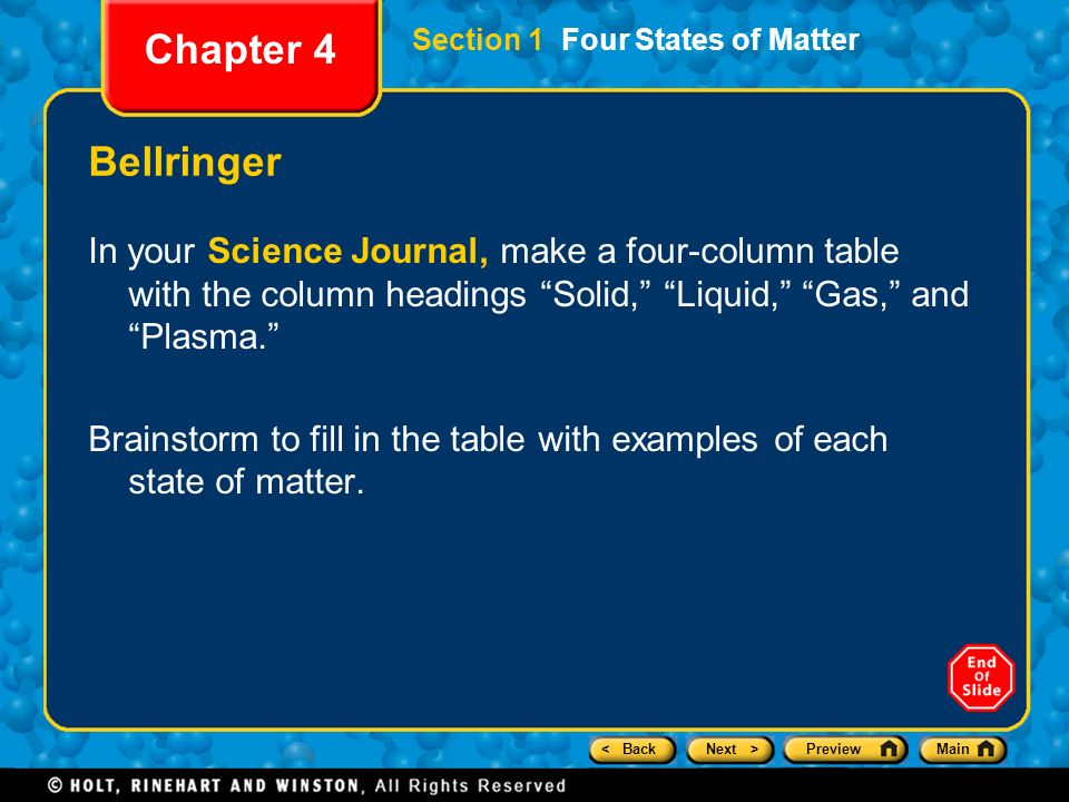 Chapter 4 Preview Section 1 Four States Of Matter Ppt Download