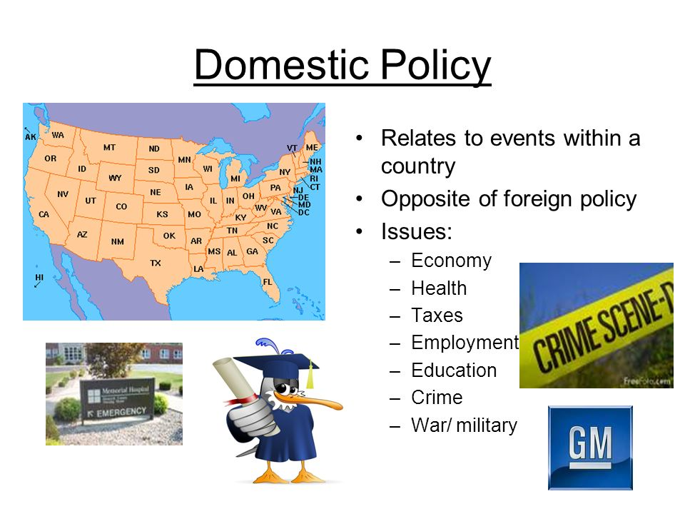 Domestic Policy Relates to events within a country