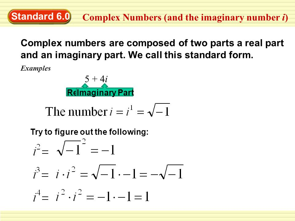 complex and imaginary numbers Intermediate algebra complex numbers name_____ multiple choice choose the one alternative that best completes the statement or answers the question.