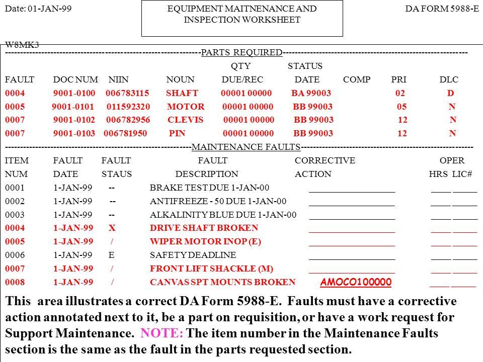 11 EQUIPMENT MAITNENANCE AND INSPECTION WORKSHEET