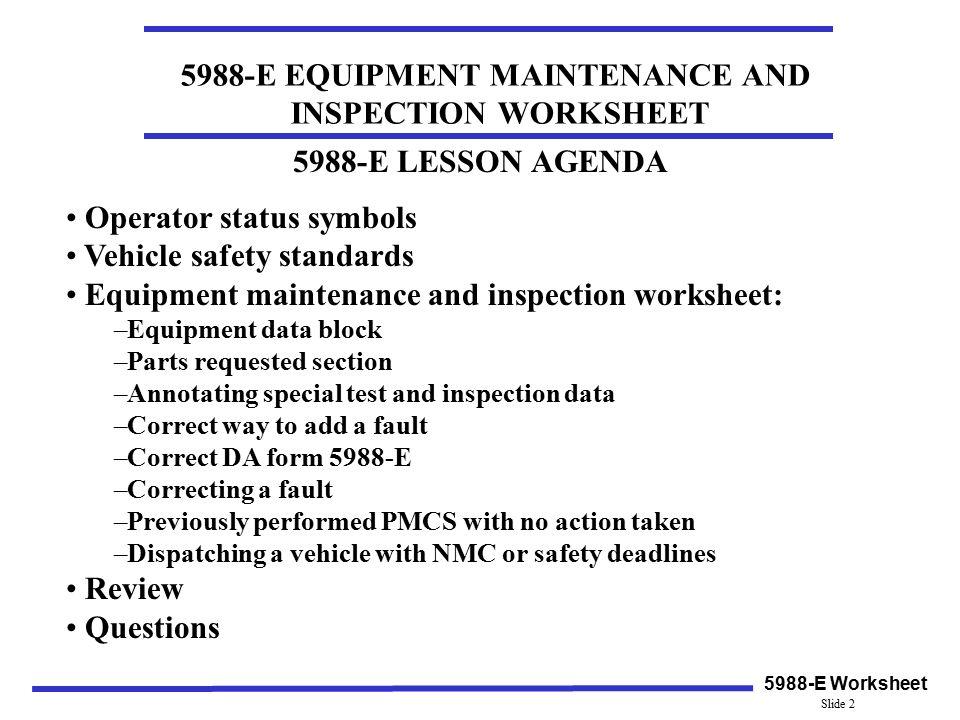 Operator status symbols Vehicle safety standards