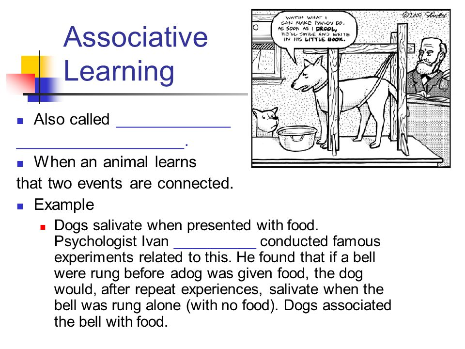 Associative Learning Also called _____________ ___________________.