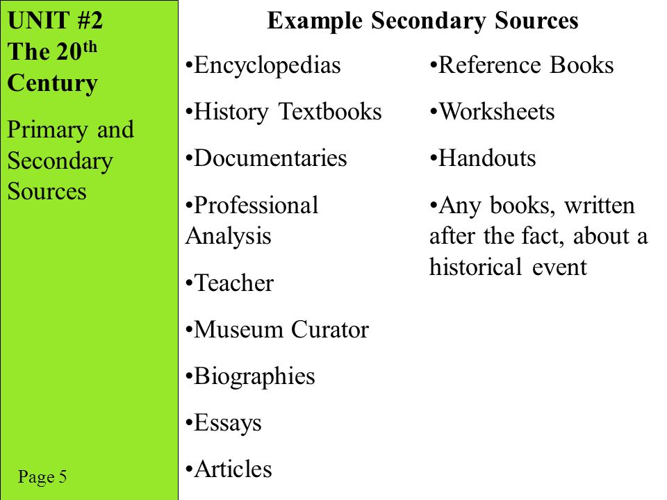 Unit 2 The 20th Century Primary And Secondary Sources Ppt Video