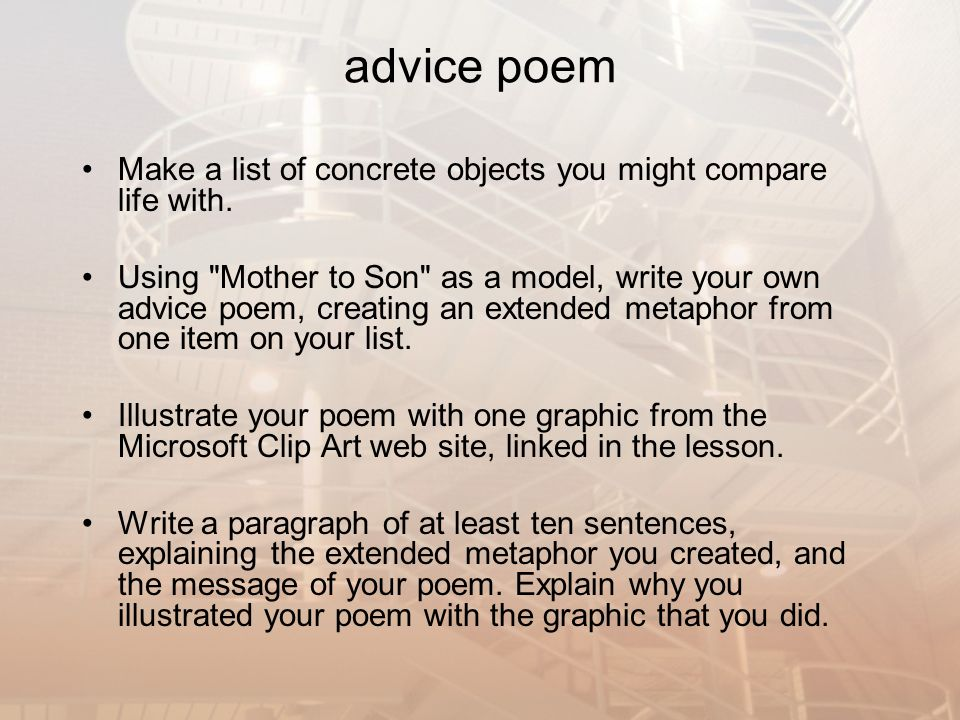what is the metaphor of the poem mother to son