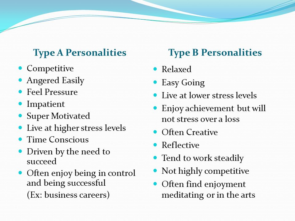 Type a personality traits vs type b