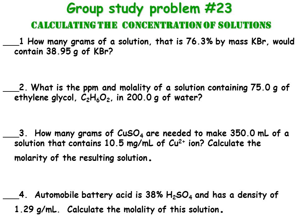 Calculating Concentration Of Solutions Ppt Download