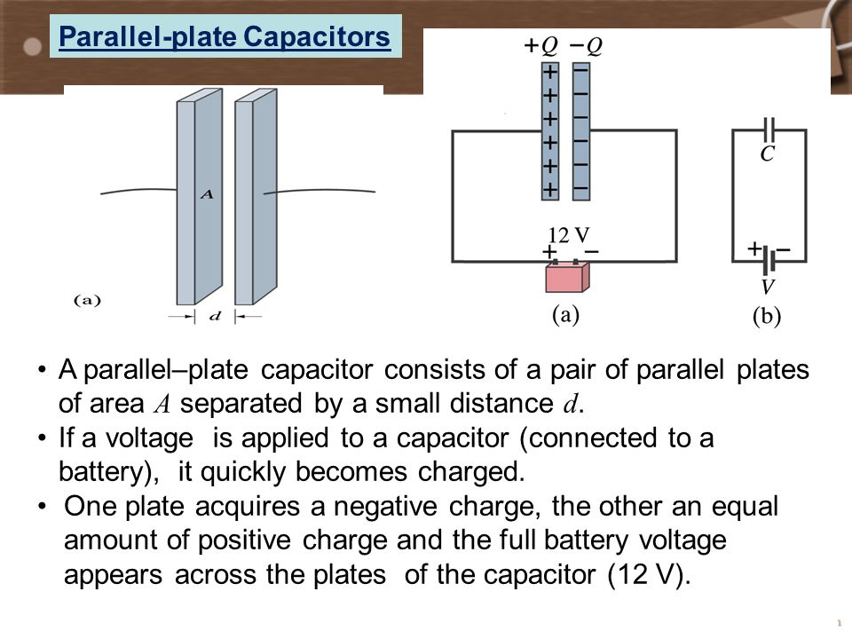 parallel plate When two parallel plates are connected across a battery, the plates become charged and an electric field is established between them remember that the direction of an electric field is defined as the direction that a positive test charge would move.