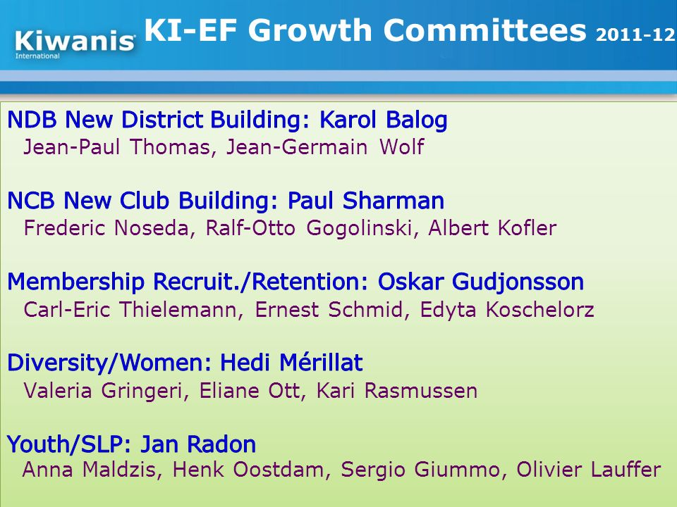 KI-EF Growth Committees 2011-12