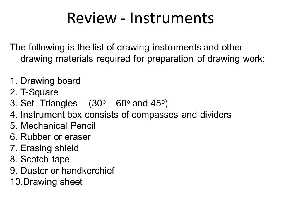 drawing instruments and materials