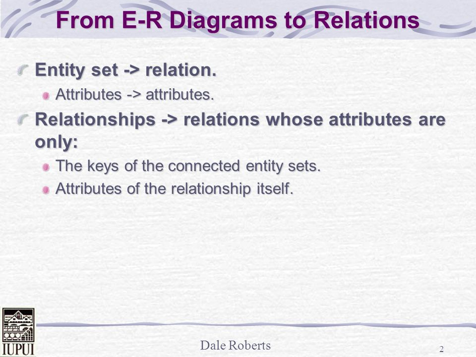 from e r diagrams to relations