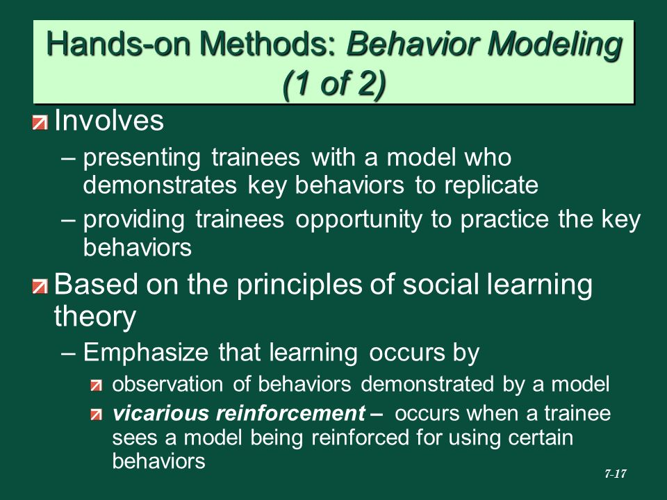 Hands-on Methods: Behavior Modeling (1 of 2)