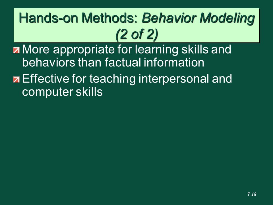 Hands-on Methods: Behavior Modeling (2 of 2)