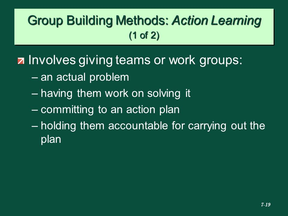 Group Building Methods: Action Learning (1 of 2)