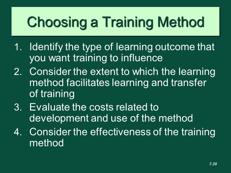 Choosing a Training Method