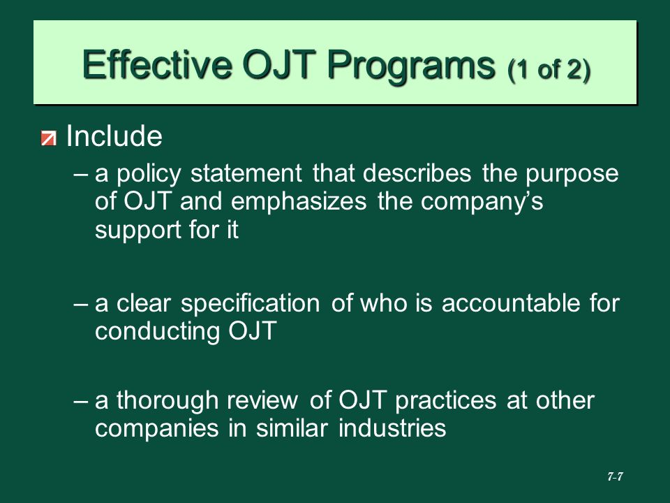 Effective OJT Programs (1 of 2)
