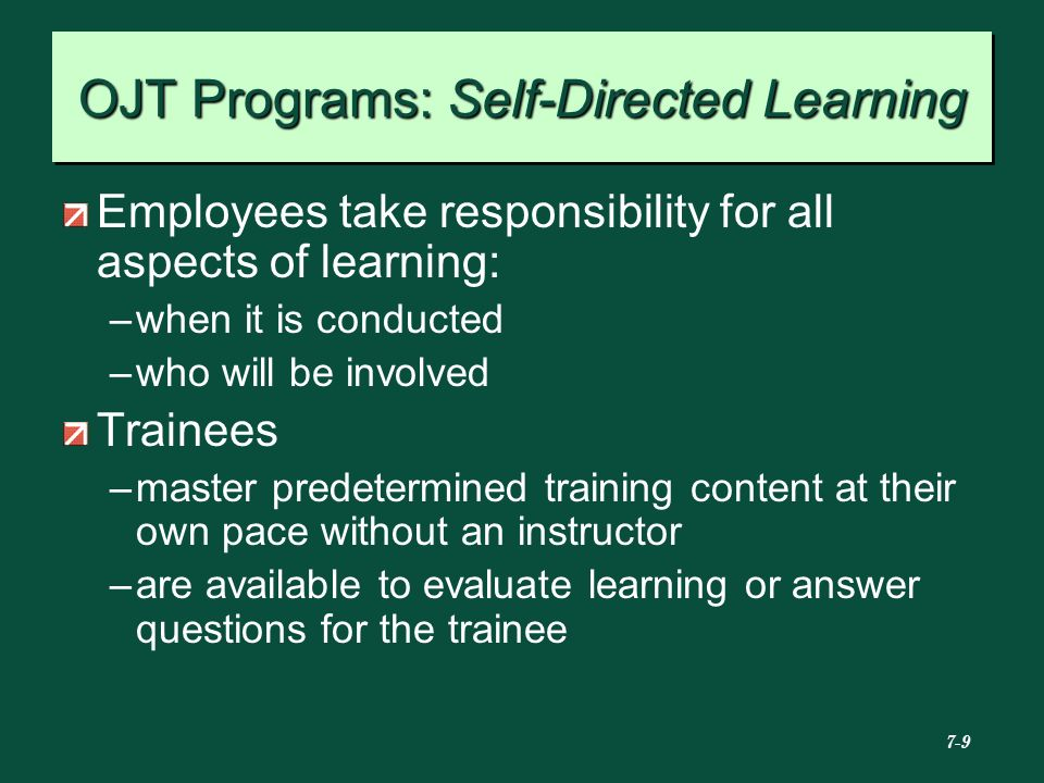 OJT Programs: Self-Directed Learning