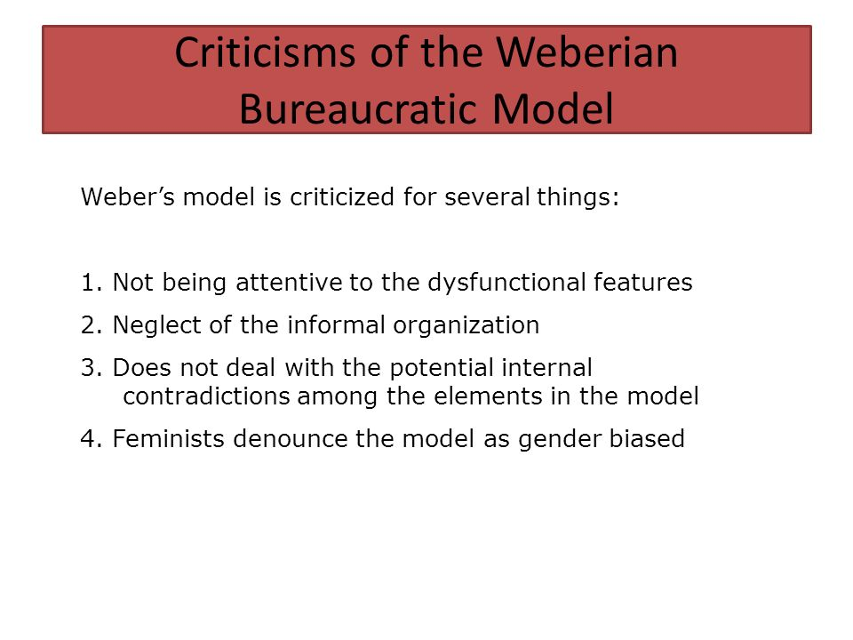 the weberian model of bureaucracy