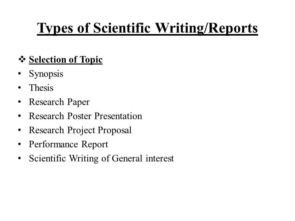 types of scientific writingreports