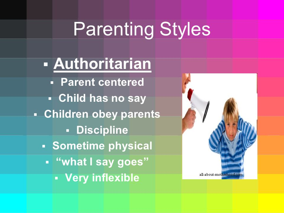 Parenting Styles Authoritarian Parent centered Child has no say