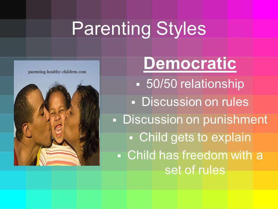 Parenting Styles Democratic 50/50 relationship Discussion on rules