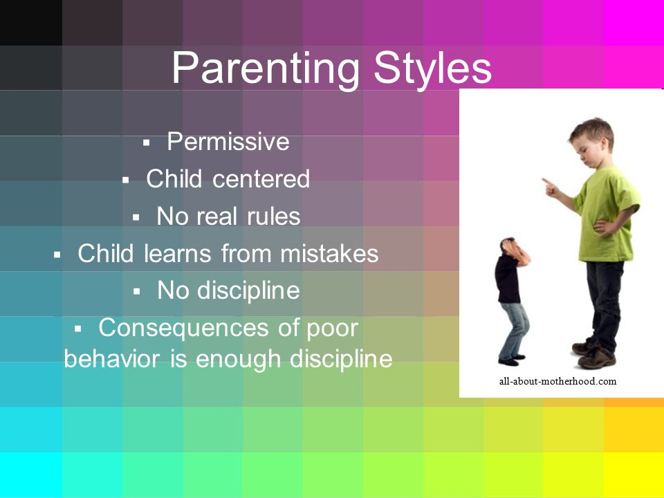 Parenting Styles Permissive Child centered No real rules