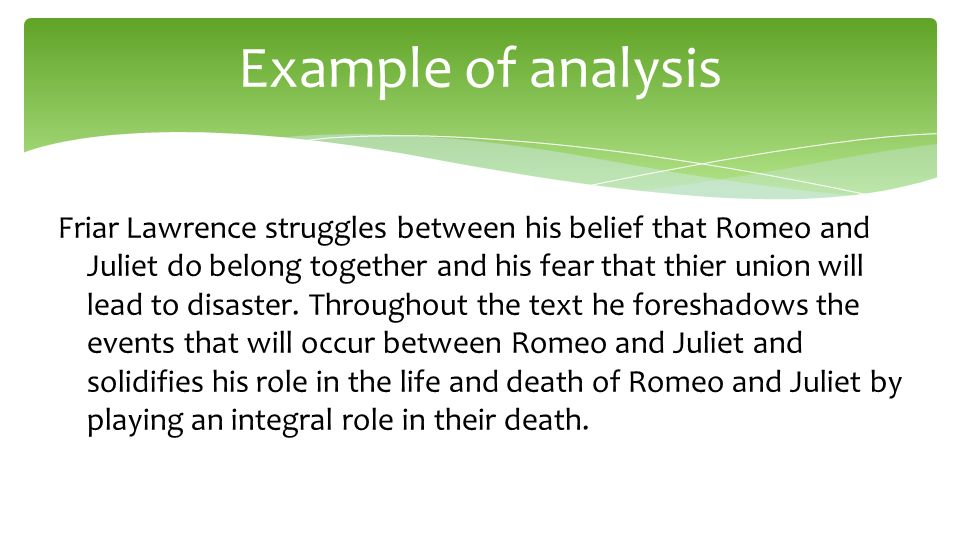 Rj Lit Analysis  Ppt Video Online Download  Example Of Analysis Friar Lawrence