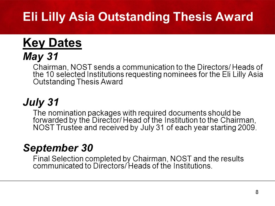 eli lilly thesis awards Eli lilly asia outstanding thesis award, first prize in asia doctoral fellowship awards from scir, india travel grand, gordan research conference (grc), ri, usa.