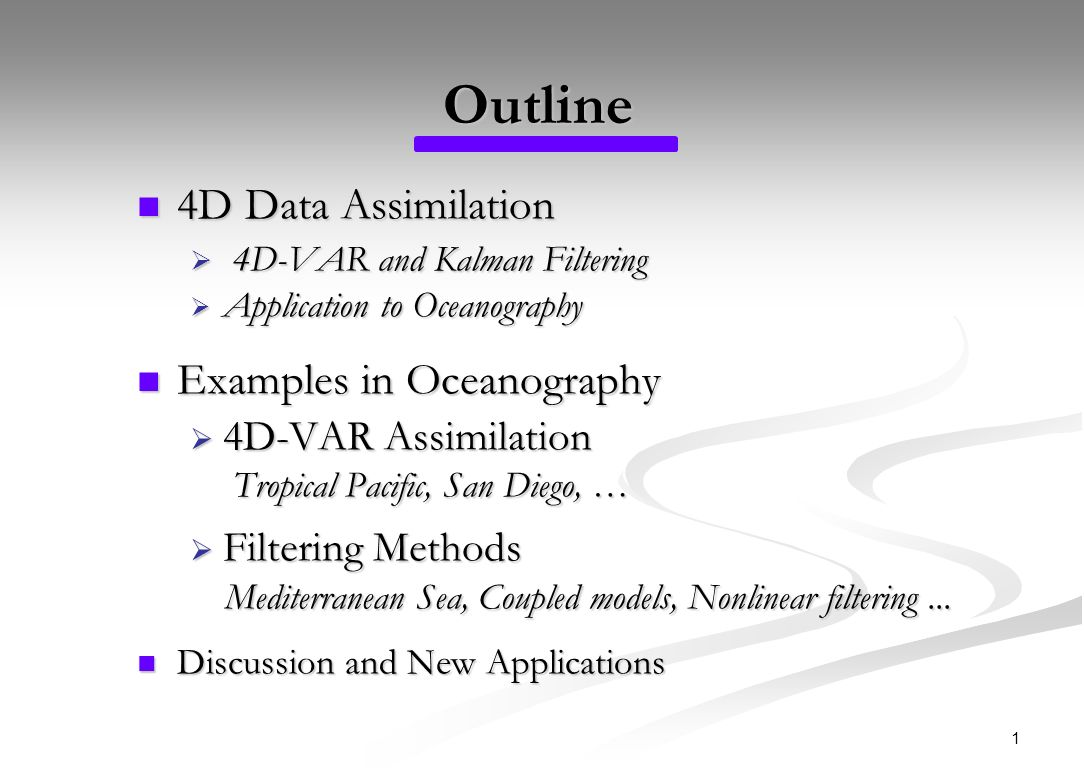 Outline 4d Data Assimilation Examples In Oceanography Ppt Download