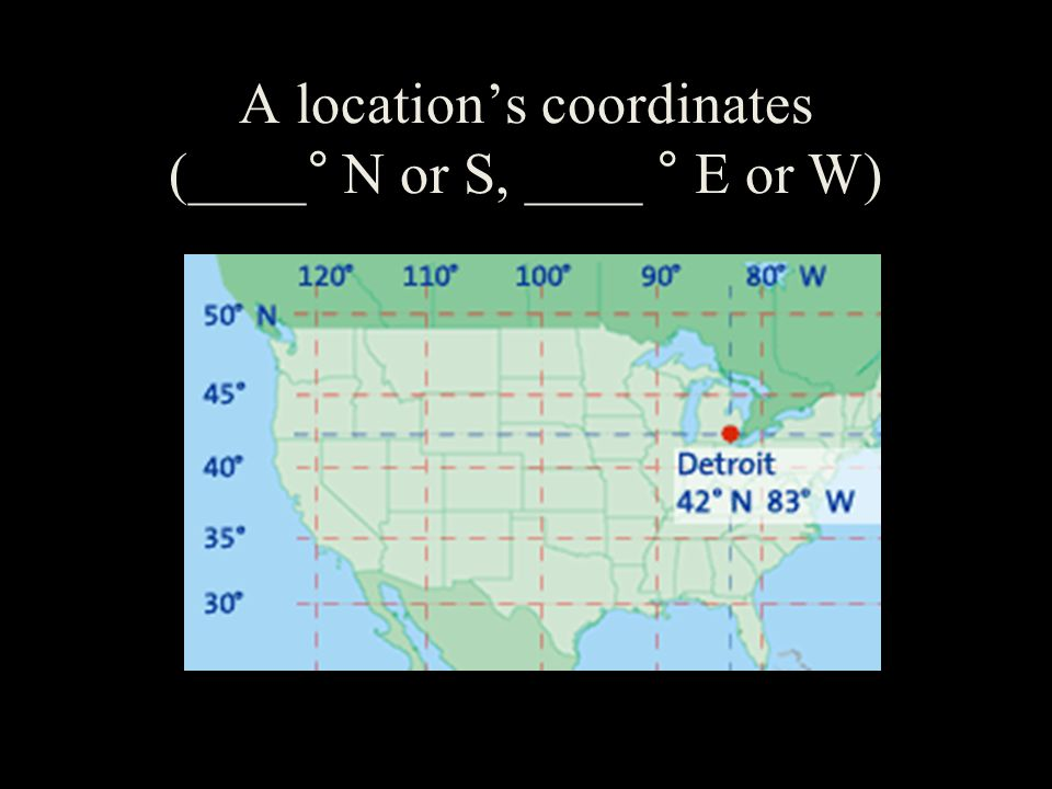 A location's coordinates (____° N or S, ____ ° E or W)