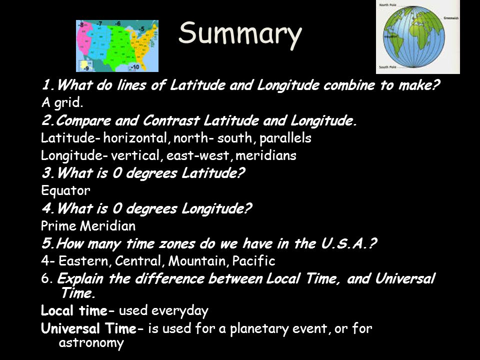 Summary 1.What do lines of Latitude and Longitude combine to make