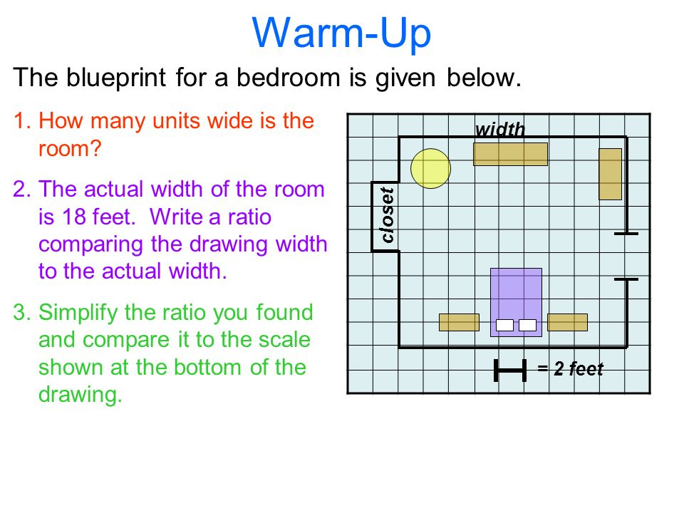 Scale drawings and models ppt video online download warm up the blueprint for a bedroom is given below malvernweather Image collections