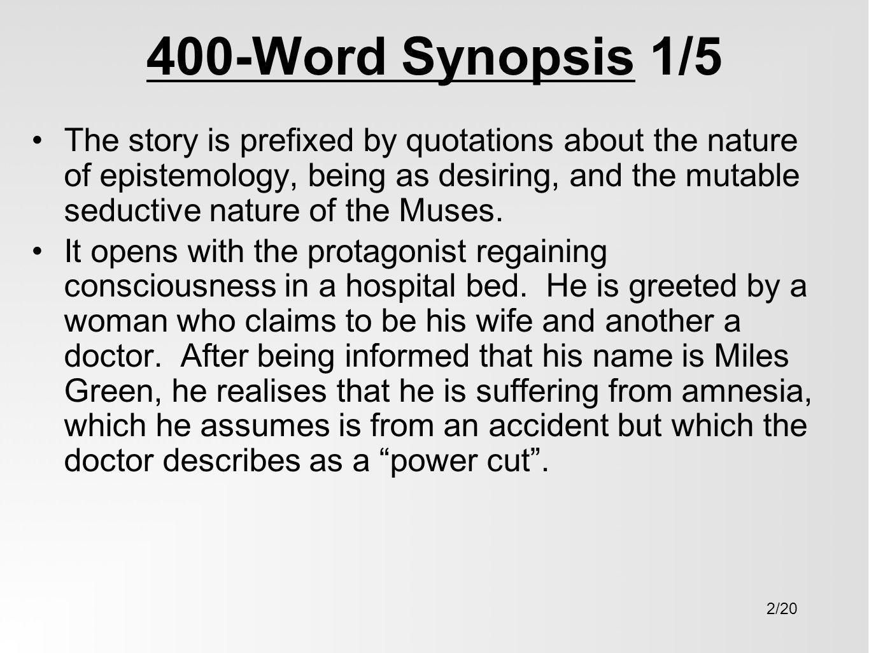 Mantissa 1982 Part 1 By John Fowles Presentation Dr Jason M Ward