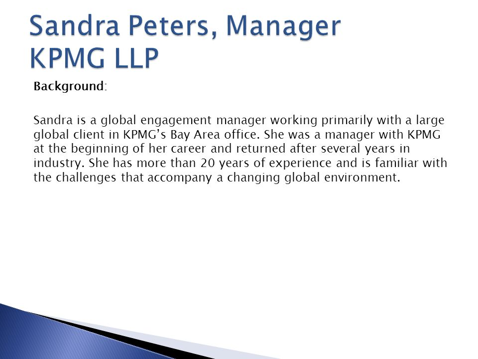 Mike Johnston Senior Manager, Tax Sandra Peters Manager tax KPMG LLP ...